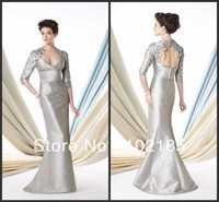 Unique Design!Floor Length Half Sleeve Taffeta Wedding Party Mother Of The Birde Dresses 2013