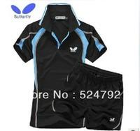 wholesale!free shipping Butterfly men's badminton SET suit shirt+shorts