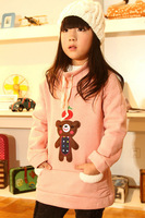 5pcs/lot gril's sweater ,cute bear children gril autumn winter coat ,kid fleece cotton sweater , cartoon bear baby clothes