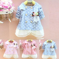 Fall 2014 cardigan jacket long sleeve t-shirt for children girls Dot cotton children clothing wear coat tops kids girls 0-3Y