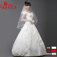 2013 bridal slim wedding dress v-neck lace up & zip up at back wedding dress with veil gloves crinoline free shipping