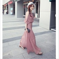 Summer bohemia one-piece dress sexy slim sleeveless chiffon beach dress full dress skirt