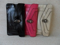 Women's handbag fashion crystal skull 2013 envelope bag day clutch oil leather messenger bag