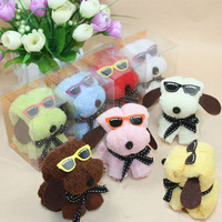 Factory promotion!!! one is whosale Cake towel gift dog glasses cake towel