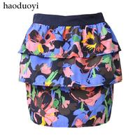 Haoduoyi cake fluffy short skirt bust skirt cycle polyester fiber floral print short skirt hm6 full free shipping