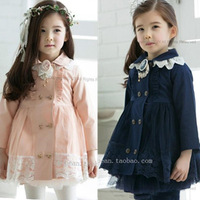 new arrival !! 2013 autumn baby long-sleeve lace trench princess girls outerwear clothes free shipping hot sell