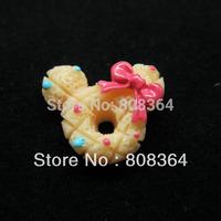 30 Pcs Beige Mickey Mouse Doughnut Resin Flatback Cabochon Scrapbook DIY Craft Phone shell /Hair Decoration 17x14mm(W02386 X 1)