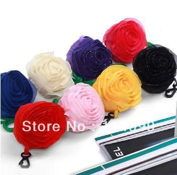 Free shipping 10 pcs/lot Fashion folding shopping bag Sweet Rose design storage bag Gift for Brithday/Valentine/Christmas