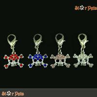 (MOQ:4pcs/lot)Cool Skull Shape Crystal Dog Pendant Bling DIY Zinc Alloy Pet Accessories Mixed 4 Colors