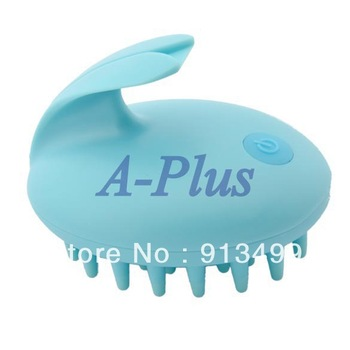 Free shipping New Vibrating Massage Rabbit Brush Electric Hair Scalp Comb Blue 12430