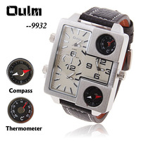 Oulm Men's Quartz Military Wrist Watch with Compass Thermometer White Square Dial Black 21mm Genuine Leather Band Wrist Watch