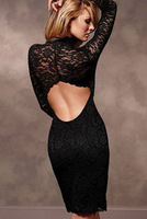 Sexy sexy 2013 openings racerback lace decoration sexy long-sleeve paragraph of plus size one-piece dress female