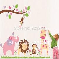 Free Shipping Jungle Animals Giraffe Lion Monkey Elephant Wall Stickers Nursery Kid Room Decor LZ001 DropShipping