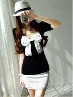 2013 autumn sexy bow rhinestone shining slim hip one-piece dress female
