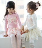 New Arrive 2013 Baby Girls lace bow cotton T-shirts Kids solid cotton tops tees  free shipping