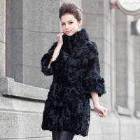 Fur Coat 2013 Women's Full Leather Lamb Wool Coat berber Fleece Stand Collar Long Outwear Free Shipping