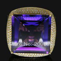 Vintage Princess 19x19mm 18Kt Gold Diamond Amethyst Wedding Engagement Ring SR323A
