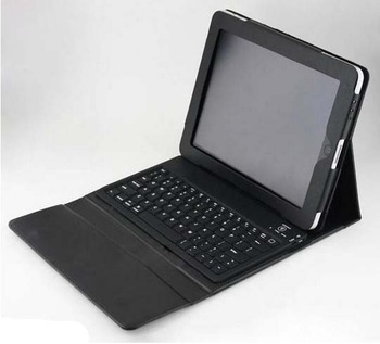 PU Leather Bluetooth Wireless Keyboard and Case Cover for IPAD 1 & 2