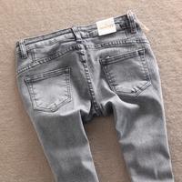 Miniyizu jeans slim pencil pants water wash skinny pants grey ankle length trousers female
