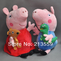 Free Shpping Peppa Pig & George Pig Pink Cartoon Stuffed Plush 2 Large Size Cute Kids Toddler Toys