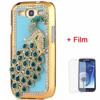 1piece 3D Bling Diamond Chrome Peacock Phone Cover Case for Samsung Galaxy S3 i9300  blue