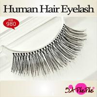 2013 Wholesale Fashion Style 100% Real Human Soft Hair Strip False Eyelash Eye Makeup Party Beauty Free Shipping IN a BOX