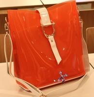 2013 Summer New Fashion Transparent Jelly Plastic Waterproof Fluorescent Handbag Diagonal Package Shoulder Bag BG309