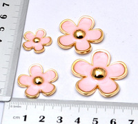 4pcs/set Gold Edge pink Daisy  flat back alloy jewelry accessories kawaii cabochons for diy phone case decorations