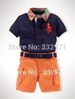 retail Boys suit : blue lapel shirt + yellow short pants/summer sport style