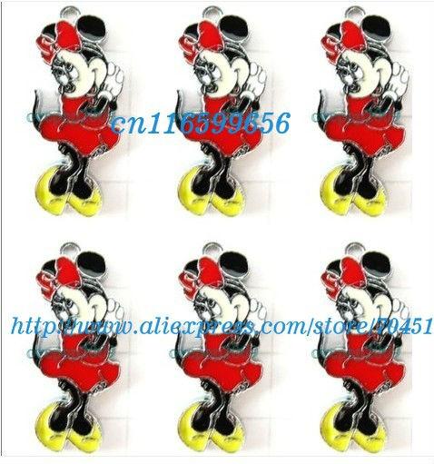 Atacado 20 pcs Minnie Mouse Red bow apreciação jóias encanto do Metal pingentes artesanato fazer jóias DIY(China (Mainland))