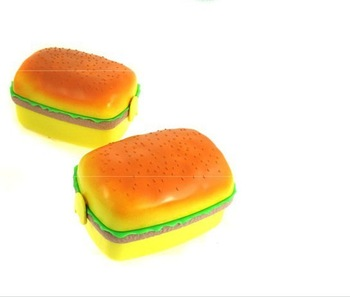 Free shipping 1PCS humburger shape travel dual-use retractable extension unified silicone crisper lunch box