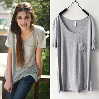 Fashion plus size women summer loose t-shirt grey tee