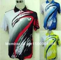 free shipping 2013 NEW Butterfly Man/s Badminton / Tennis Polo Shirt YELLOW /BLACK/Blue