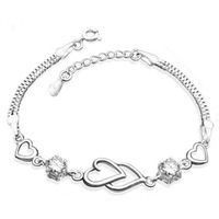 Free Shipping Women double crystal bracelet 925 silver jewelry silver platinum jewelry gift