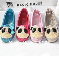Free shipping!Girls' shoes princess single shoes children bear shoes Lovely diamond panda