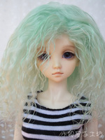 Small bjd wig customize wool head wool roll green wool roll