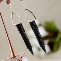 Free Shipping! Hot Sale 2013 Fashion Lady Black Long Tassels Drop Earrings for Women Jewelry Wholesale Retail