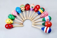 New Baby Rattle Toy Boy Girl Colours Wood Hand Rattle Ball Development Hearing Toy 10pcs/lot