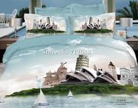 Wholesale,cotton oil painting bedding set 3D romantic europe sydney trip bed linen 4pcs full/queen bed in bag quilt/duvet covers