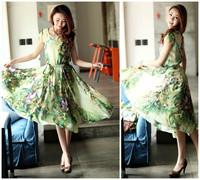 2013 summer women's patchwork chiffon plus size loose print full dress mm one-piece dress short-sleeve