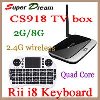 2pcs=1pcs i8 keyboard+1pcs CS918(MK888) RK3188 Cortex-A9 Mini PC Android tv sticks wifi RAM 2GB Quad Core TV box Remote Control