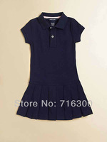 Free Shipping 2013 summer POLO girls dresses brand fashion casual cotton  wholesale Polo girl dress 4 colors