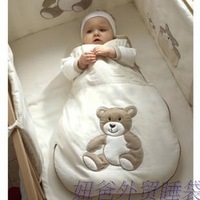Sleeveless autumn and winter 100% cotton embroidered infant thin sleeping bag anti tipi