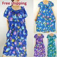 Free Shipping 2015 nighty Spring summer leisur printing knitting ladies sleepwear nightgown pajamas for women plus size large