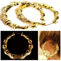 Free Shipping Womens New Fashion Punk Gold Tone Bamboo Big Hoop Large Circle Earrings