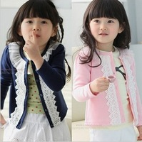 2 color spring and Autumn period,girl coats wholesale Girls Sweet leisure collar T-shirt children's jacket, cardigan (5 pcs/lot)