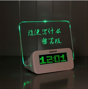Free shipping 2013 brand Led alarm clock with Message Board Calendar thermometer lazybones Alarm Clock H400(China (Mainland))