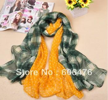 mu1311 plain voile check and polka dot long scarf fashion cotton shawl 180cm*110cm scarf can be muslim hijab Free Shipping