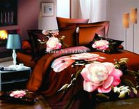100% cotton oil painting 4pcs full/queen bedding set 3D pink flower floral bed linen quilt/duvet covers
