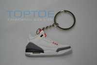 2013 Hot selling  Sneaker keychain Basketball Shoes Key Ring AJ4 white cement color (5 pcs/lot )